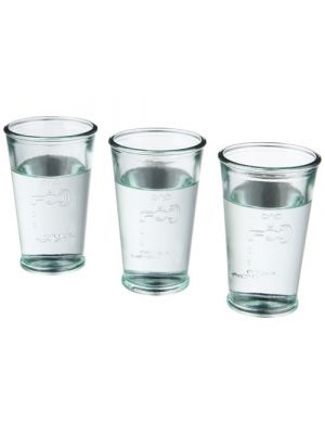 Vasos cocina of 3 glasses of water de vidrio ecológico con logo vista 1